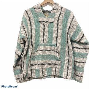 Baja Joe mint green striped Poncho hoodie Small
